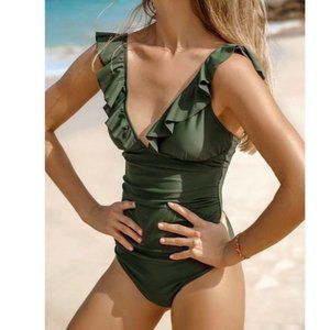 Green Ruffled Lace Up One Piece Bathing Suit Sz L